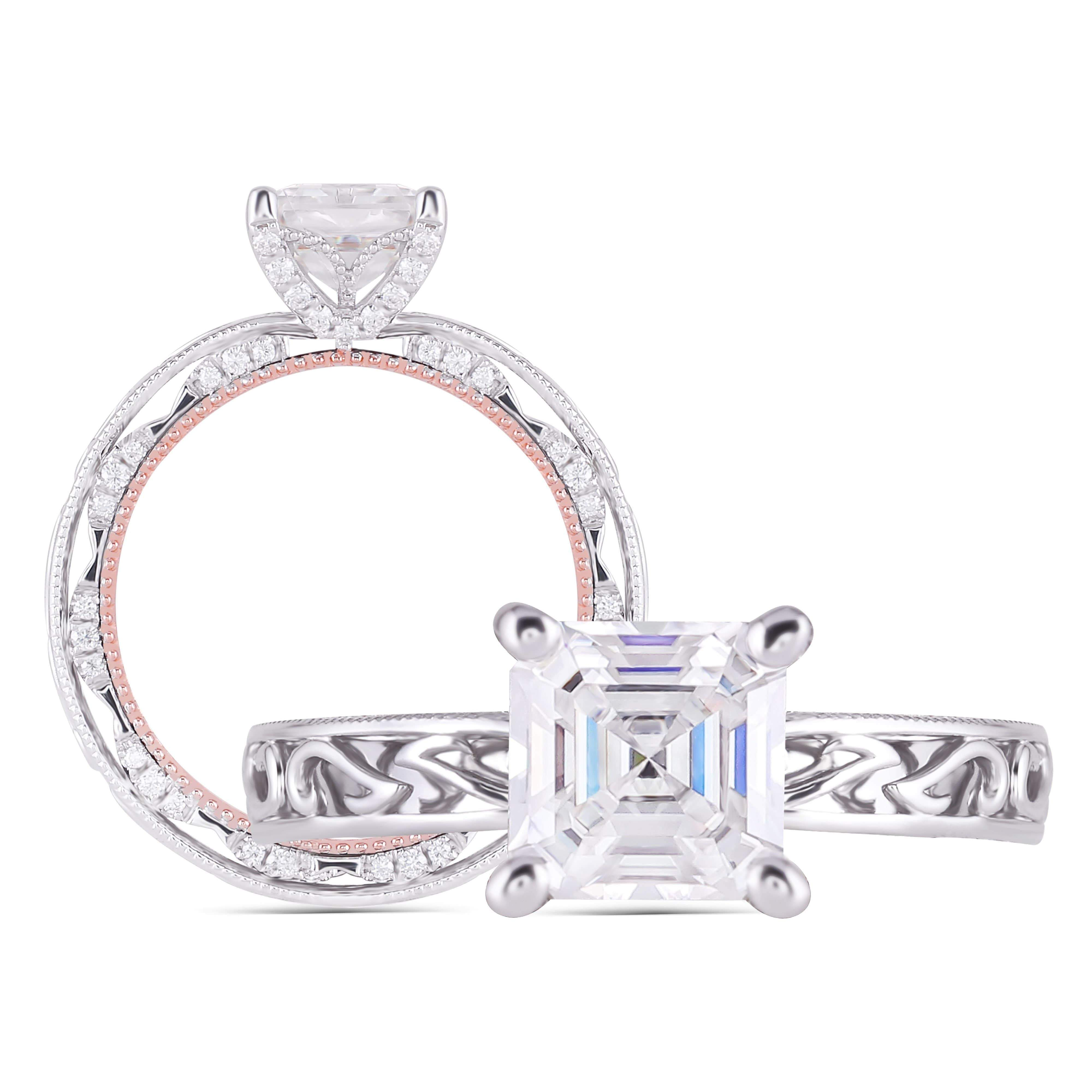 asscher moissanite engagement ring