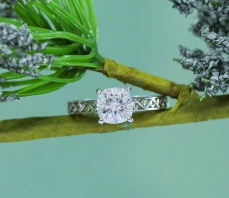 doveggs cushion moissanite engagement ring in white/yellow gold DovEggs-Seattle