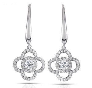 doveggs dangle earrings 14k white gold 0.5ct center 3.5mm moissanite dangle earrings with accents for women - DovEggs-Seattle