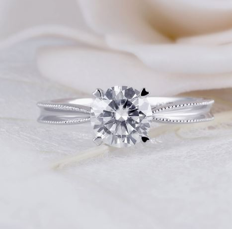 doveggs DEF/GHI color round moissanite engagement ring in white gold DovEggs-Seattle