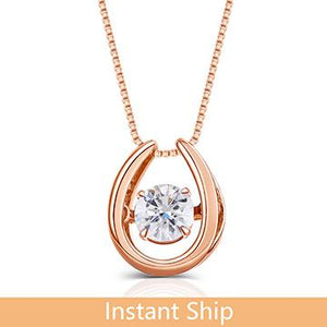 doveggs diamond 18k rose gold center 0.4 carat diamond pendant necklace DovEggs-Seattle