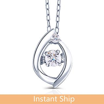 doveggs diamond 18k white gold center 0.05 carat diamond pendant necklace DovEggs-Seattle