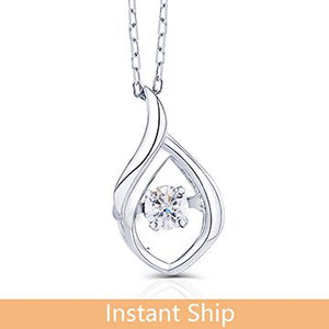 doveggs diamond 18k white gold center 0.08 carat diamond pendant necklace DovEggs-Seattle