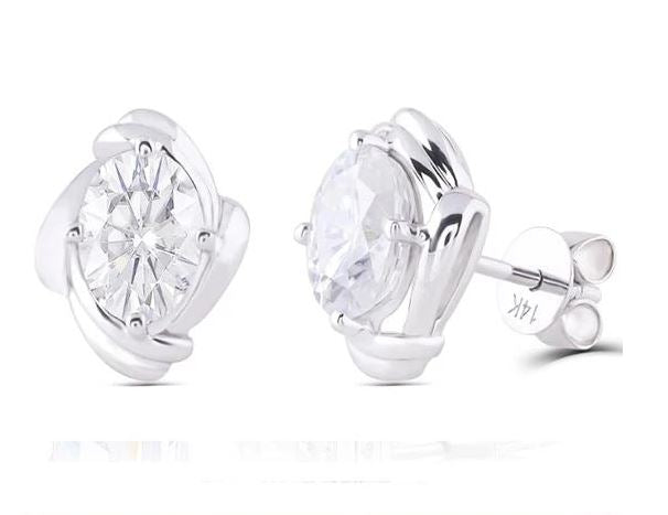 doveggs moissanite 14k white gold 2 carat GHI/DEF color oval moissanite stud earrings DovEggs-Seattle
