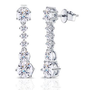 doveggs moissanite 14k white gold 5.6 carat DEF/GHI color round moissanite dangle earrings DovEggs-Seattle