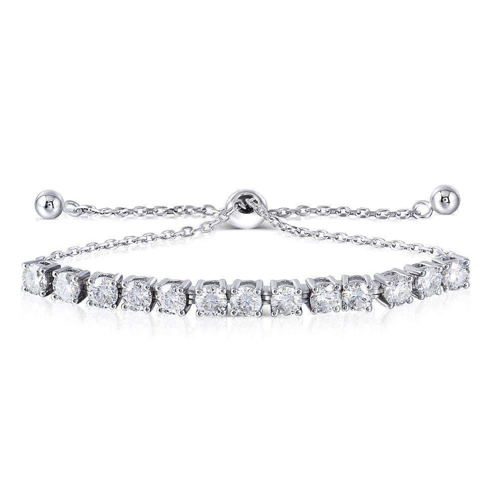 doveggs moissanite adjustable tennis bracelets platinum plated silver 3 carat center 4mm round moissanite for women girl - DovEggs-Seattle