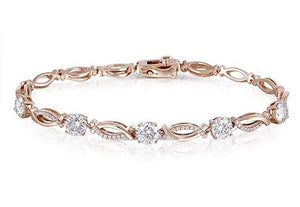 doveggs moissanite bracelet 14k rose gold 2.5ct 5 pieces 5mm moissanite bracelet with accents for women 17cm length - DovEggs-Seattle