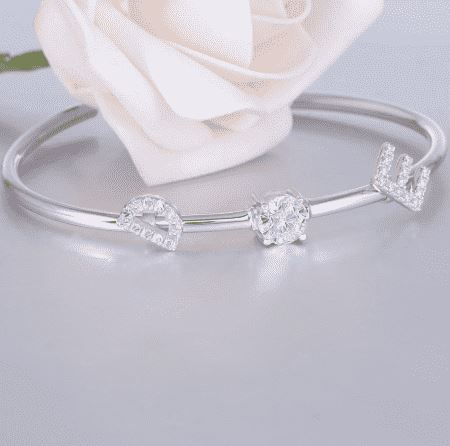 doveggs moissanite bracelet bangle platinum plated silver 1 carat center 6.5mm g-h-i color moissanite for women girls - DovEggs-Seattle
