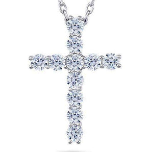 doveggs moissanite cross pendant necklace 14K white gold 1.1 carat center 3mm round brilliant moissanite for women - DovEggs-Seattle