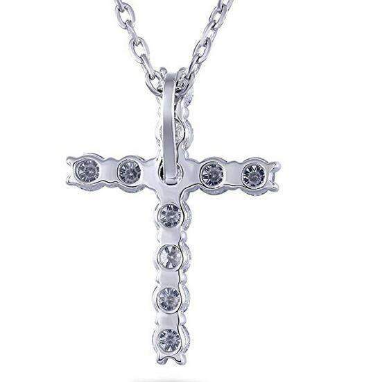 doveggs moissanite cross pendant necklace platinum plated silver 1.1 carat center 3mm g-h-i color round moissanite for women - DovEggs-Seattle