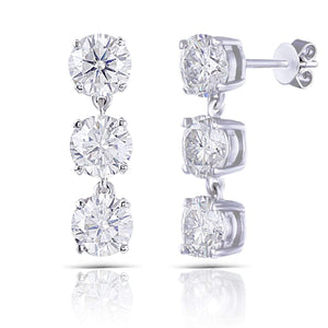 doveggs moissanite dangle earrings 14k white gold 3 carat center 5mm round brilliant moissanite studs push back - DovEggs-Seattle