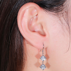 doveggs moissanite dangle earrings 14k white gold 4.4 carat center 6mm cushion cut moissanite for women - DovEggs-Seattle