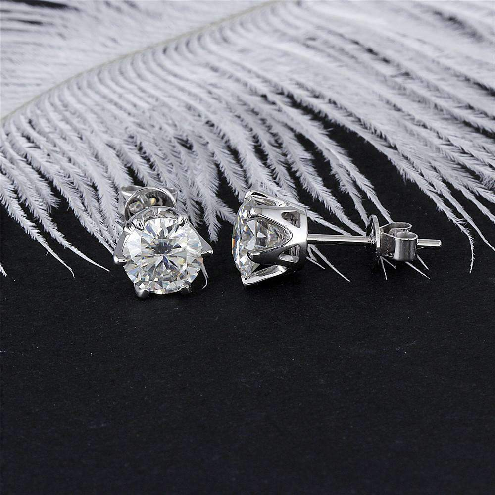 doveggs moissanite earring 14k white gold 2 carat center 6.5mm gh color round moissanite studs push back - DovEggs-Seattle