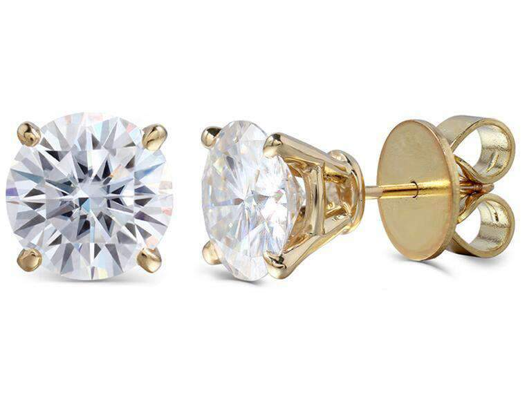 doveggs moissanite earring 14k yellow gold 6 carat center 9mm round cut moissanite stud push back - DovEggs-Seattle