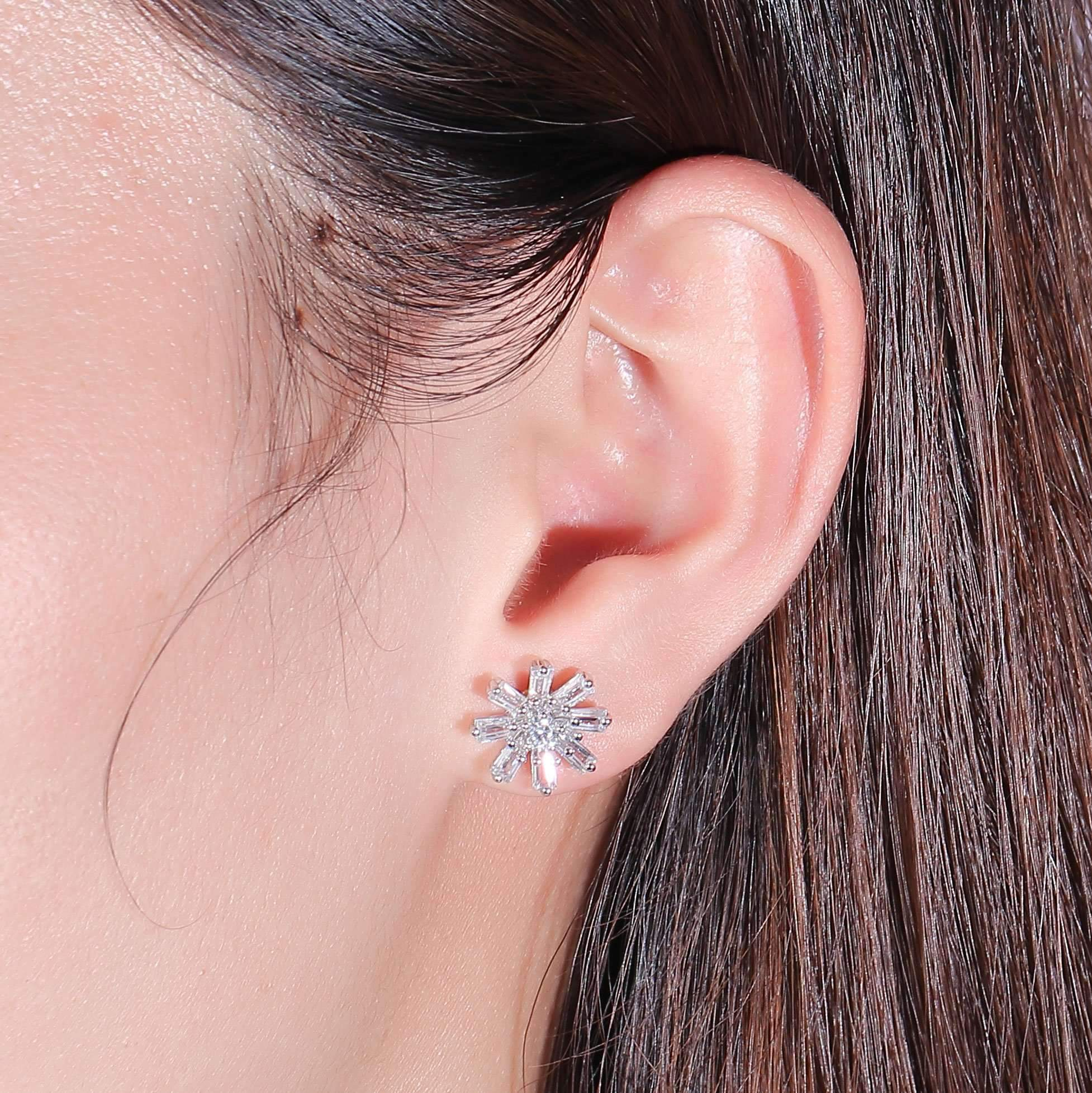 doveggs moissanite earring studs 10k white gold post 0.2 carat center 3mm round moissanite platinum plated silver push back with accents for women - DovEggs-Seattle