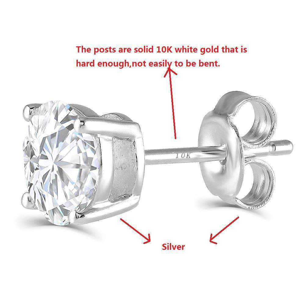 doveggs moissanite earring studs 10k white gold post 2 carat center 6.5mm g-h-i color round moissanite platinum plated silver push back for women - DovEggs-Seattle