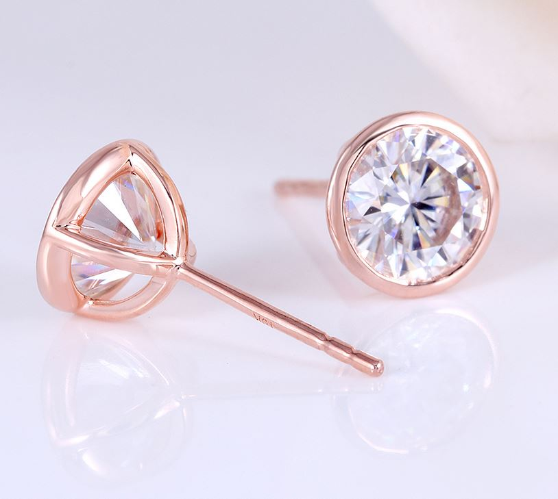 doveggs moissanite earring studs 14k rose gold 2ct 6.5mm moissanite earring stud bezel setting push back for women and men - DovEggs-Seattle