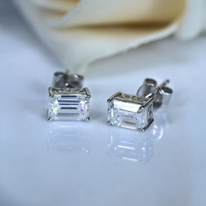doveggs moissanite earring studs 14k white gold 1.2ct 4x6mm emerald moissanite earring studs push back for women - DovEggs-Seattle