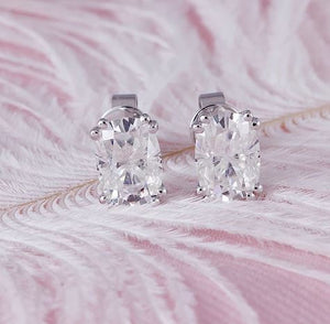 doveggs moissanite earrings 14k white gold 2 carats 5x7mm cushion moissanite earring studs push back for women - DovEggs-Seattle