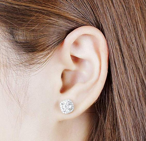 doveggs moissanite earrings 14k white gold 2ct center 6.5mm moissanite halo earring studs with accents push back for women - DovEggs-Seattle