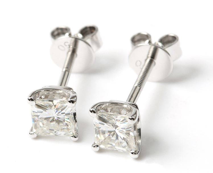 doveggs moissanite earrings stud 14k white gold 0.8ct 4mm princess cut moissanite earring studs screw back for women - DovEggs-Seattle