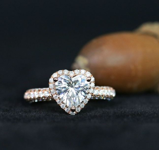 doveggs moissanite engagement ring 14k rose gold 2ct 8mm heart shape moissanite halo engagement ring with accents for women - DovEggs-Seattle