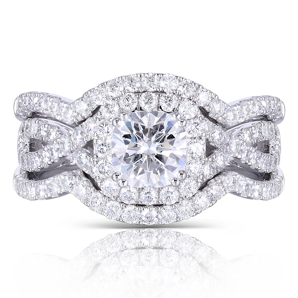 doveggs moissanite engagement ring 14k white gold 1.1 carat center 6mm cushion cut moissanite halo ring bridal set - DovEggs-Seattle