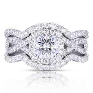 bridal set halo moissanite ring