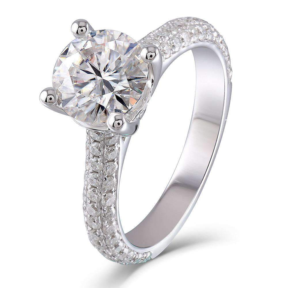 doveggs moissanite engagement ring 14k white gold 1.5 carat center 7.5mm round moissanite ring solitare with accents for women - DovEggs-Seattle