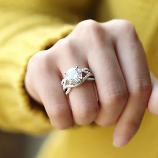 doveggs moissanite engagement ring 14k white gold 3ct center 9mm moissanite engagement ring with accents for women - DovEggs-Seattle