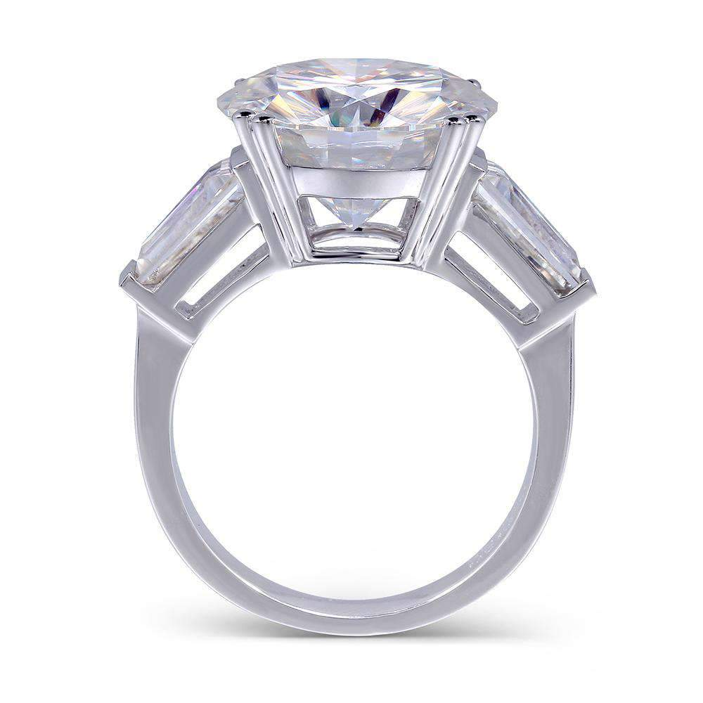 doveggs moissanite engagement ring 14k white gold 8 carat center 13mm round moissanite ring with accents - DovEggs-Seattle