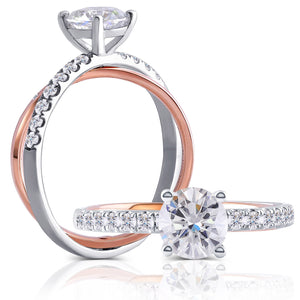 doveggs moissanite engagement ring 14k white gold and rose gold 1 carat center 6.5mm round moissanite ring solitare with accents for women - DovEggs-Seattle