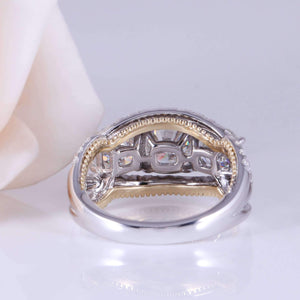 doveggs moissanite engagement ring 14k white gold and yellow gold 4.2 carat center 6mm-7.5mm-6mm cushion cut moissanite ring three stone with accents - DovEggs-Seattle