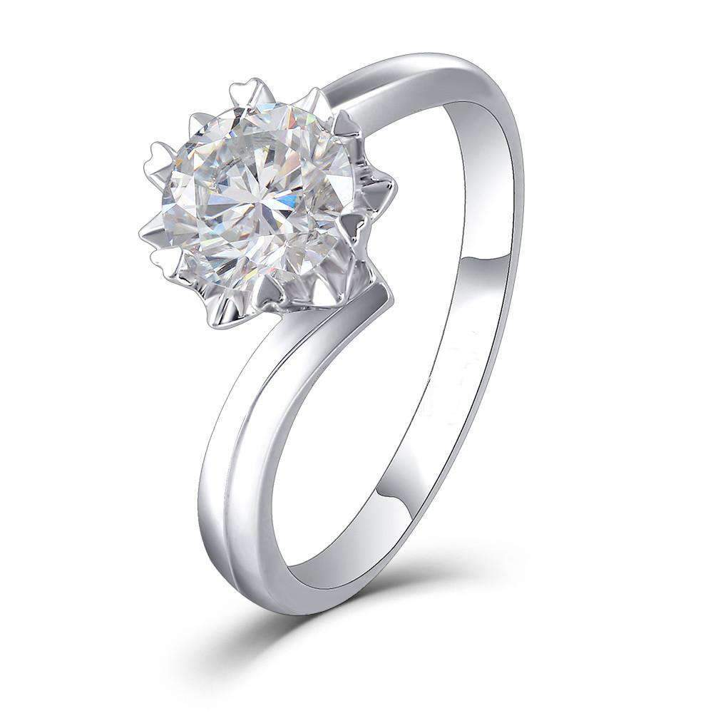 doveggs moissanite engagement ring platinum plated silver 1 carat center 6.5mm g-h-i color heart arrows cut round moissanite solitare ring for women - DovEggs-Seattle