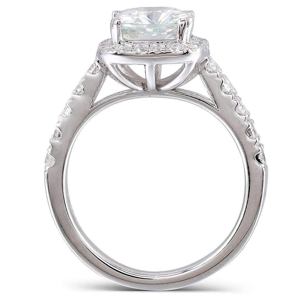 doveggs moissanite engagement ring platinum plated silver 2 carat center 7.5*7.5mm ghi color cushion moissanite ring for women - DovEggs-Seattle