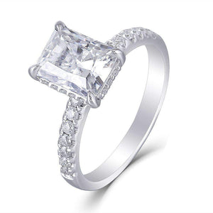 doveggs moissanite engagement ring solitare with accents 14k white gold 1.5 carat center 6*8mm radiant cut moissanite ring for women - DovEggs-Seattle