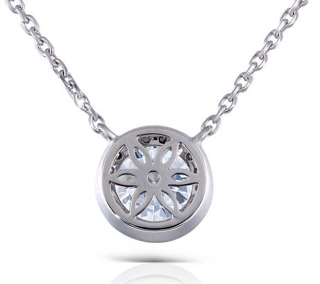 doveggs moissanite halo pendant necklace 14k white gold 1ct center 6.5mm moissanite pendant necklace with accents for women - DovEggs-Seattle