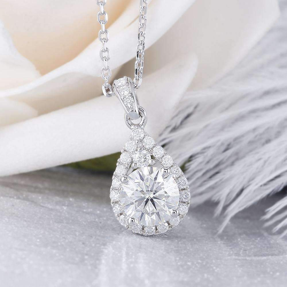 doveggs moissanite halo pendant necklace with accents platinum plated silver 1 carat center 6.5mm g-h-i color round moissanite - DovEggs-Seattle