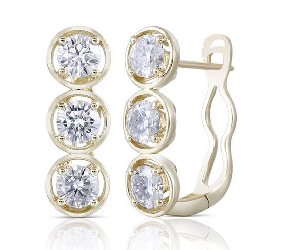 doveggs moissanite hoop earrings 14k yellow gold 2.4 carats 4.5mm moissanite hoop earrings for women - DovEggs-Seattle