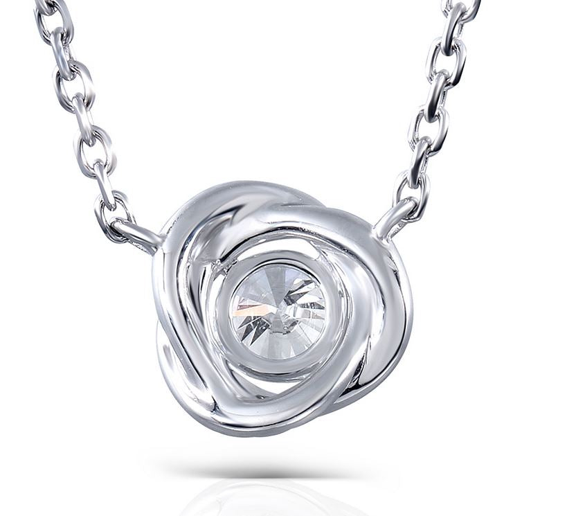 doveggs moissanite pendant necklace 14k white gold 0.5ct center 5mm moissanite halo pendant necklace with accents for women - DovEggs-Seattle