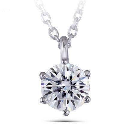 doveggs moissanite pendant necklace 14k white gold 1 carat center 6.5mm round brilliant moissanite for women - DovEggs-Seattle