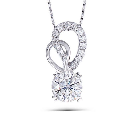 doveggs moissanite pendant necklace 14k white gold 1.5 carat center 7.5mm moissanite pendant necklace with accents for women - DovEggs-Seattle