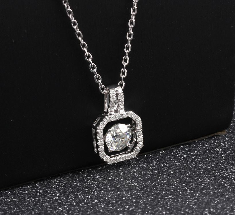 doveggs moissanite pendant necklace 14k white gold 1ct center 6.5mm moissanite halo pendant necklace with accents for women - DovEggs-Seattle