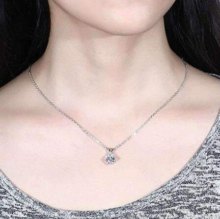 doveggs moissanite pendant necklace 14k white gold 2 carat center 7.5mm g-h color cushion moissanite for women - DovEggs-Seattle
