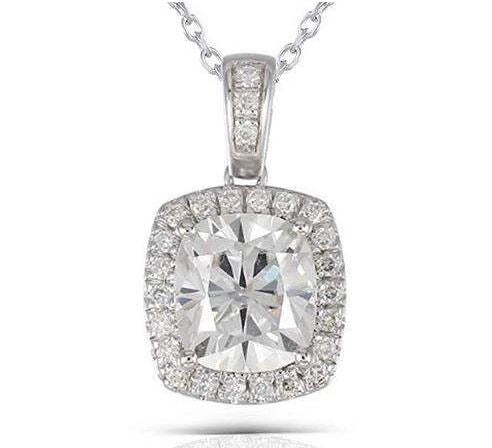 doveggs moissanite pendant necklace 14k white gold 2ct center 7x8mm cushion moissanite halo pendant necklace with accents for women - DovEggs-Seattle