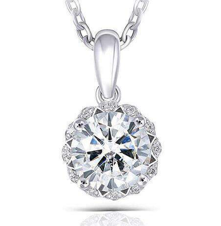 doveggs moissanite pendant necklace 14k white gold center 1 carat center 6.5mm heart arrows cut moissanite pendant for women girl - DovEggs-Seattle