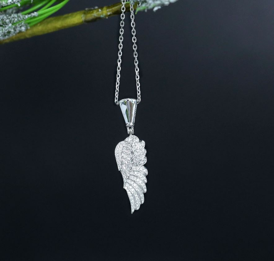 doveggs moissanite pendant necklace 14k white gold moissanite Leaf Shape pendant necklace with 14k white gold chain for women - DovEggs-Seattle