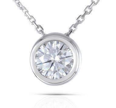 doveggs moissanite pendant necklace bezel setting 14k white gold 1 carat center 6.5mm round moissanite for women girl - DovEggs-Seattle