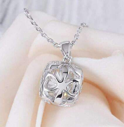 doveggs moissanite pendant necklace with accents platinum plated silver 2 carat center 7X8mm g-h-i color halo cushion moissanite - DovEggs-Seattle