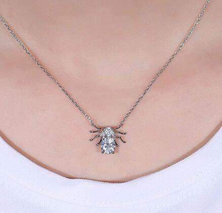 doveggs moissanite pendant necklace with accents platinum plated silver center 1 carat 6X7mm g-h-i color oval moissanite for women - DovEggs-Seattle